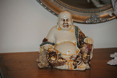 China Happy Lucky lachender dicker sitzend Buddha braun Figur Feng Shui NEU