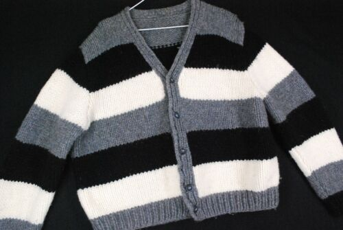 Vintage 70s CHUNKY Striped Cardigan Wool Knit Sweater Black Gray Punk Hipster