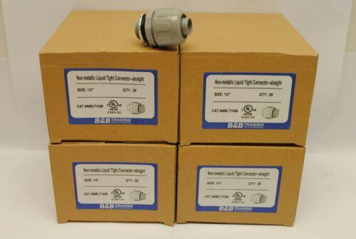 "100 Pieces 1/2"" Nylon Non Metallic Straight Liquid Tight Connectors UL Listed"