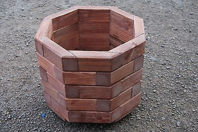 Wooden Octagonal Pot, Set of Two, 32 cm Long of Solid Spruce in Rusty Color