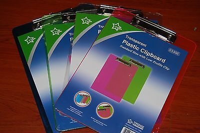 Lot Of 24pc Transparent Plastic Clipboard 12.5x 9.5 Free Shipping