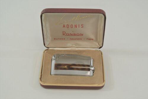 Ronson Varaflame Adonis Vintage Lighter & Case Butane Adjustable Flame USA VG!