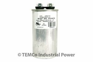 50 MFD 370v Round AC Electric Motor Run Capacitor HVAC 370 vac v volts 50 uf