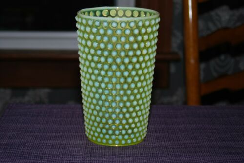 "Imperial Glass Yellow Topaz Vaseline Hobnail 8"" Opalescent Vase"