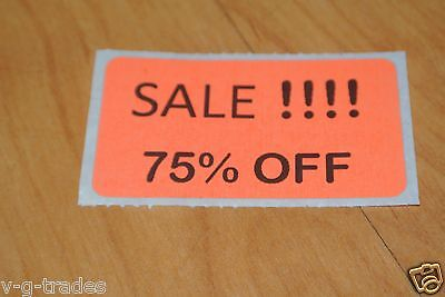 Lot 200 Orange Sale 75 Off Price Labels Stickers Tags Retail Store 2x1 Inch