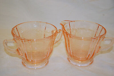 Pink Indiana MADRID Recollections  GLASS SUGAR Bowl  AND CREAMER  SET