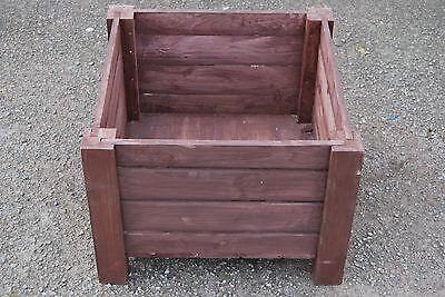 Very Big Wooden Pot, Square 55 x 55 x 40 cm of Solid Wood Spruce in Rusty Color