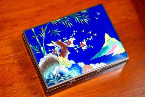 Antique Japanese Silver Wire Cloisonne Enamel Box