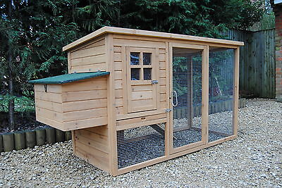 2018 Chicken Coop Poultry Rabbit Cat House & Run CC047 up to 4 hens Opening Roof
