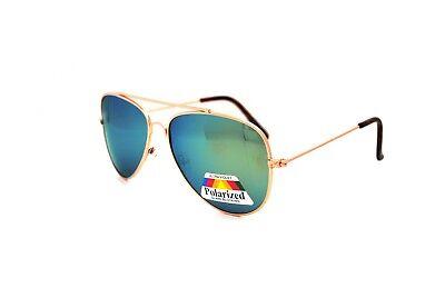 Green Yellow Mirrored Polarised Sunglasses Pilot Classic Mens Ladies