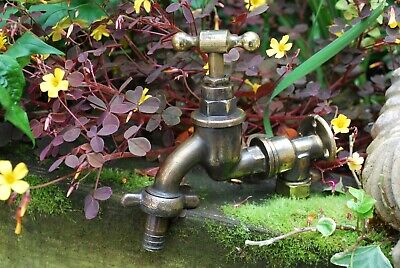 OLD BRASS GARDEN TAP RECLAIMED & FULLY REFURBED ANTIQUE PATINA BRASS TAP