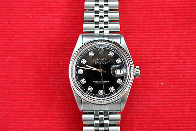 MANS STAINLESS  AND WHITE GOLD ROLEX  DATEJUST, 1601 BLACK DIAMOND DIAL,BOX