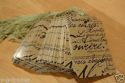 Lot 200 Large Scalloped Paris Print Paper Merchandise Price Tags With String