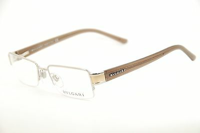 New Authentic Bvlgari 190 102 Silver/Gold/Brown 52mm Frames Eyeglasses Italy RX