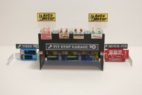 Ho Slot Car 3 BAY PIT STOP GARAGE,TIRE BAY,QUICK FIX BAY & CELL PHONE HOLDER