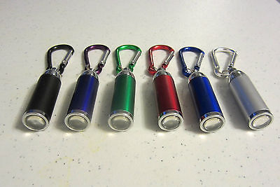 6 NEW CARABINER LED FLASHLIGHT KEYCHAINS WITH ZOOMABLE LIGHT KEY CHAIN RING  - Led Keychain