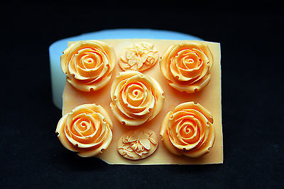 5 Roses, Silicone Mold Chocolate Polymer Clay Jewelry Soap Melting Wax Resin