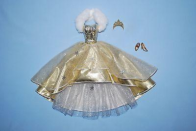 SHIMMERING Silver & Gold Winter Formal BARBIE Gown w/ Snow Flake Pattern - Heels
