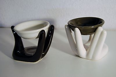 Duftlampe in Handform Verdunster Duftöllampe für Duftöl schwarz-weiss Dekor Hand ()
