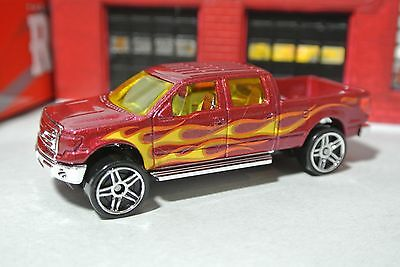 Hot Wheels 2009 Ford F150 Pickup Truck - Maroon Red w Flames - Loose - 1:64