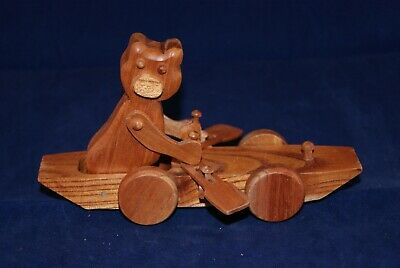 HANDMADE WOODEN CARVED CAT ROWING ON WHEELS CHESTER WEDGEWOOD