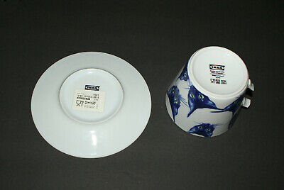 Rare Ikea Designer Katie Eary Giltig Cat Head Cup Mug and Saucer Broken Handle!