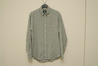 Gitman Vintage Organics green check long sleeve shirt L cotton/linen/ramie
