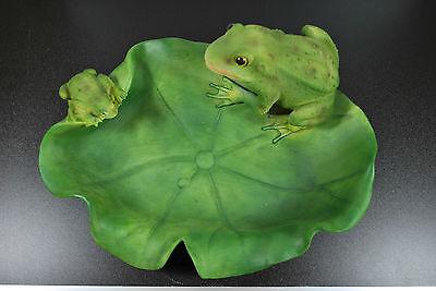 Frösche mit Blatt als Vogeltränke Gartenfigur Standfigur Dekoration Tierfigur
