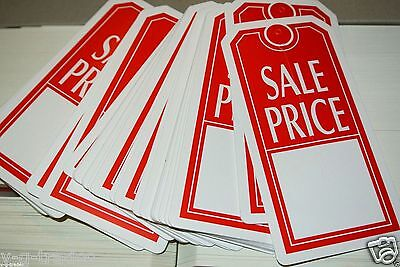 Lot Of 100 Large Red White Sale Price Tags With Slit Merchandise Fast Sh