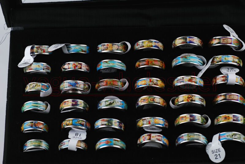 10Pcs Unisex Wholesale Catholic Religious Enamel Medals Stainless Steel Rings