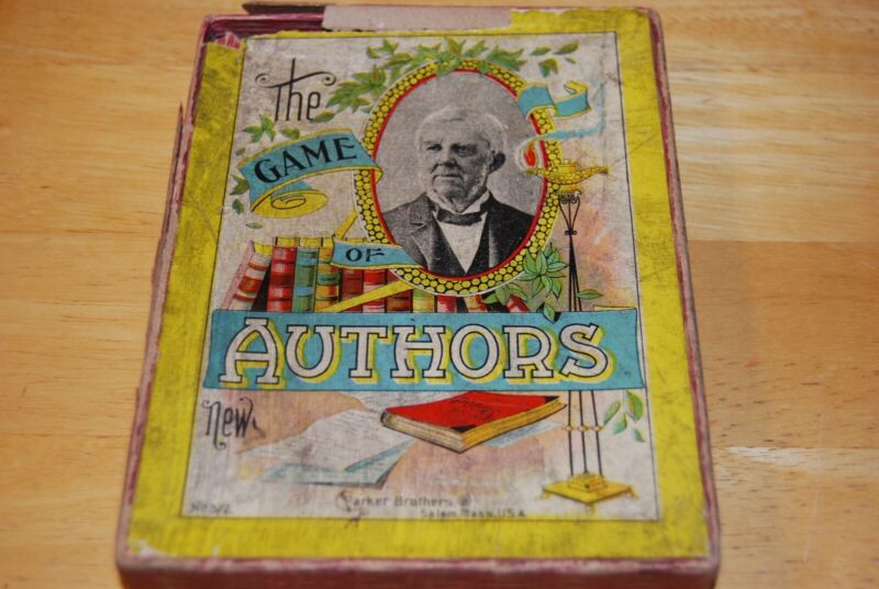 Antique The Game of Authors by Parker Brothers, New, #372, Salem Mass, copyright