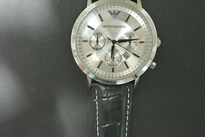 EMPORIO ARMANI WATCH   JAPAN MOVEMENT LEATHER BAND CHRONO WATER RESISTANT