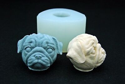 Dog face #2, Silicone Mold Chocolate Polymer Clay Jewelry Soap Wax Resin