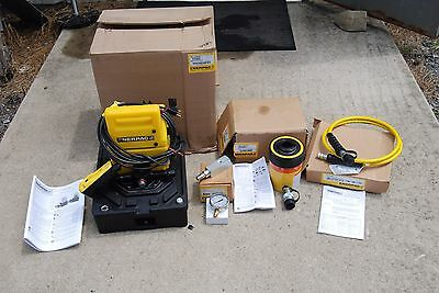 Enerpac Rch-302 Hollow Ram Set W Puj-1201b Hydraulic Pump W Hose Gauge New