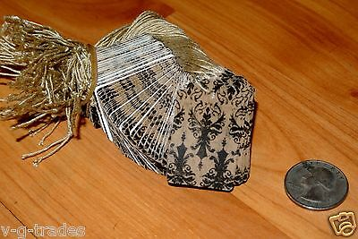 Lot 500 Distressed Damask Print 1.5 X 1 Paper Merchandise Price Tags With String