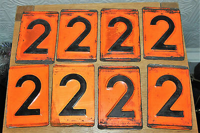 SINGLE Vintage Industrial Pressed Metal Orange Black Number 2. Railway, Wagon