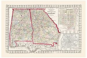 Old Vintage Map County & Township of Georgia and Alabama Mitchell 1874 - <span itemprop='availableAtOrFrom'>Warszawa, MAZOWIECKIE, Polska</span> - Old Vintage Map County & Township of Georgia and Alabama Mitchell 1874 - Warszawa, MAZOWIECKIE, Polska