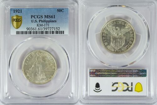 1921-(M) US/Philippines 50 Centavos ~ PCGS MS61 ~ 75% Silver ~ A#14.10 ~ 152