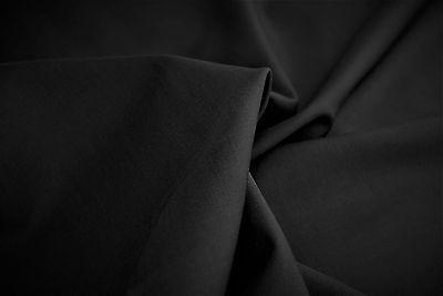Wolle Gabardine (Schwarz DELUXE150's Extra Fein Pure Wolle Luxuriös Gabardine Made in Italy  E3)