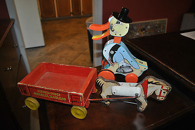 FISHER PRICE PULL TOY # 733 GENERAL HAULING + FREE REPRODUCTION DR. DUCK PULL