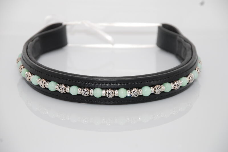 """16"""" (Full/Horse) Black Browband w/Mint Green and Metal Beads"""