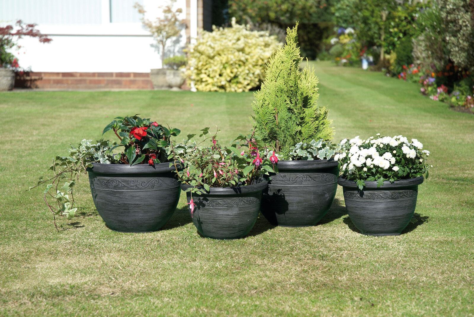 garden planters set of four plant pot holders gunmetal. Black Bedroom Furniture Sets. Home Design Ideas