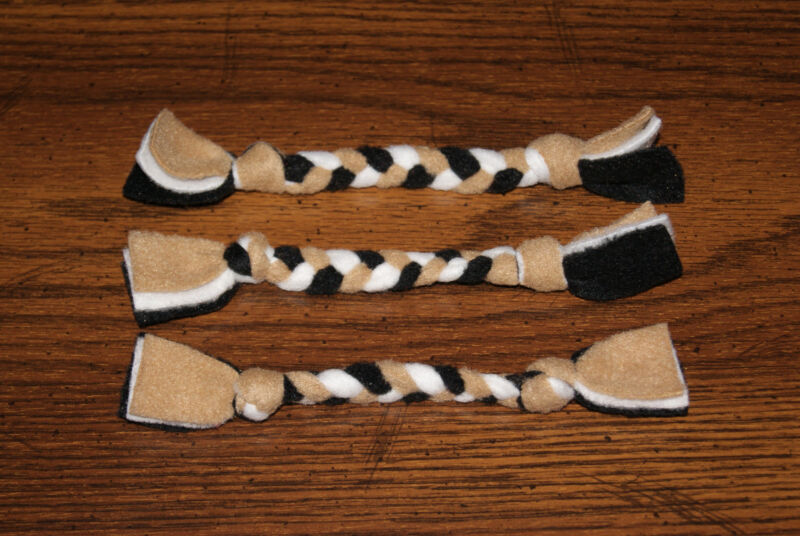 New Set of 3 New Orleans Saints Colors Handmade Braided Fleece Cat Toys Help BCR