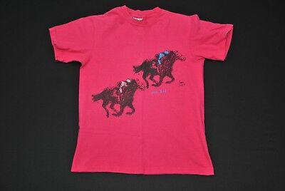 VTG DEL MAR RACE TRACK SHIRT HORSES PINK 1988 80'S MEN'S MEDIUM M SLIM