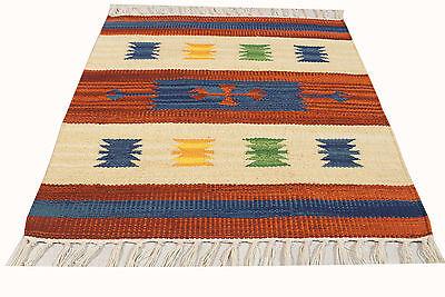 ING-0020-4-Carpet Kilim Jahnu Machine Washable 100% Cotton - 50x50 Cm -Farah1970