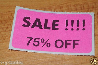Lot 100 Pink Sale 75 Off Price Labels Stickers Tags Retail Store 2x1 Inch