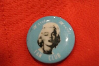 "RARE Marilyn Monroe FAN CLUB Button Pin 1"" EC"