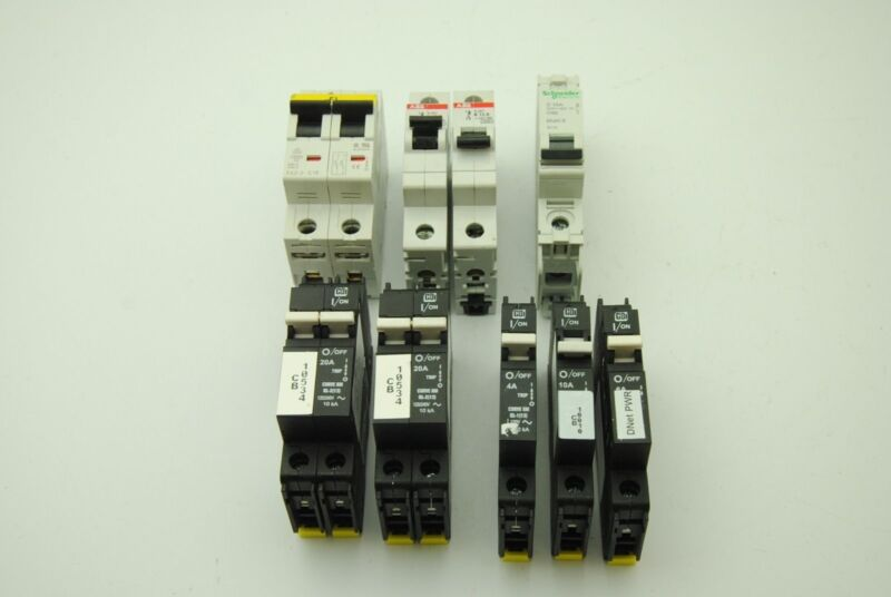 ABB, CBI, Lot of 9 Circuit Breakers, 4A-20A