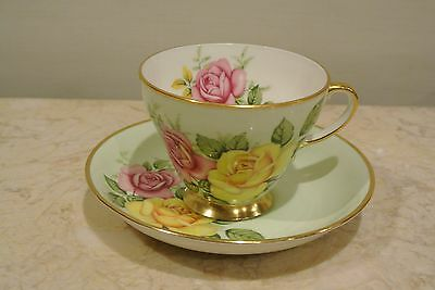Vintage Royal Grafton Rose Motif Tea Cup and Saucer Pale Green