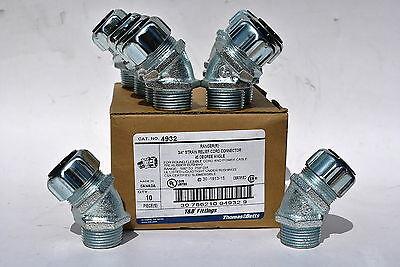 Box Of 10 Tb 4932 34 Strain Relief Cord Connector 45 Angle .500-.750 Range